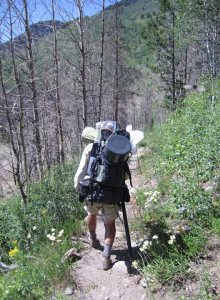 Me doing my pack mule imitation in the Bridger Wilderness a few years back. Tom has helped me lighten the load considerably.