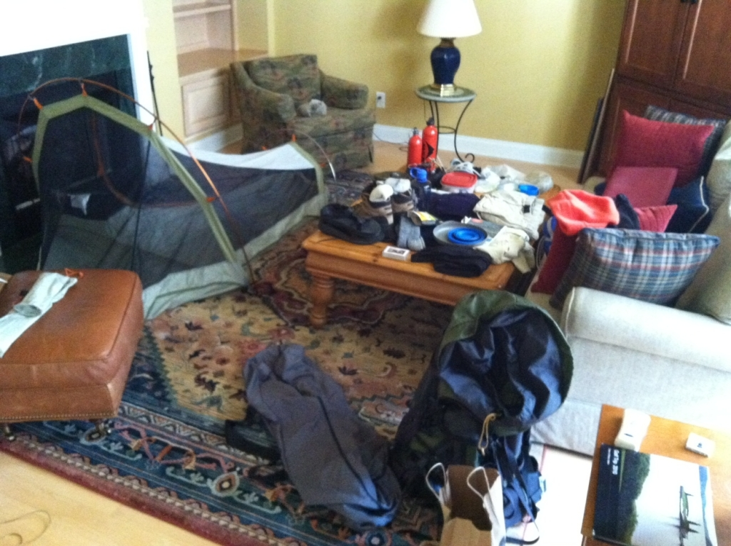 The living room is crammed with camping stuff in advance of the trek in the Bridger Wilderness.  I'm trying to pack light but lite-weight backpacking technology has passed me by.
