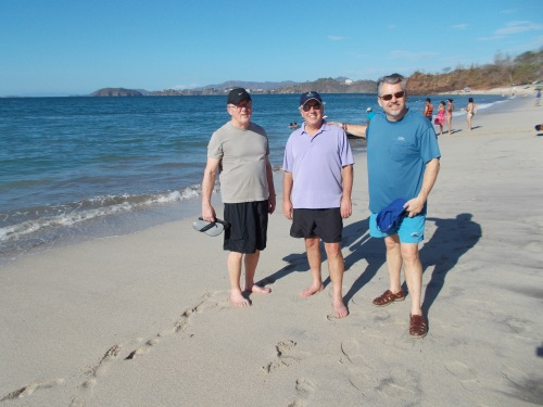 Tres amigos (Bob, Dave Hemminger and Dave Dahlquist) reassemble on the beach in Costa Rica.