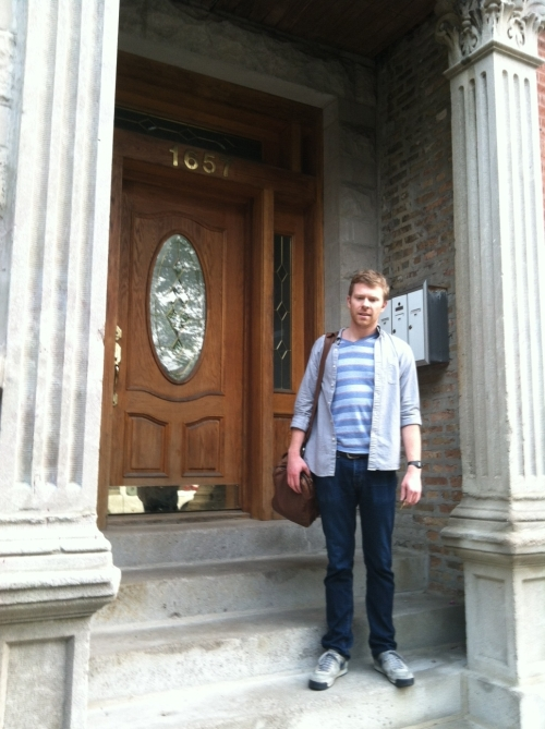 Reid at the door of his new digs with Liz in Chicago. Nice place for a young couple. It's got more square footage than where his old man lives.