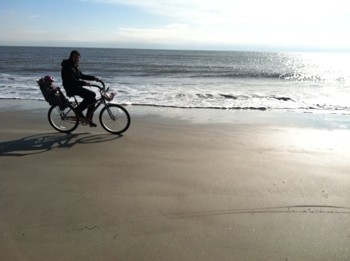Reid and his niece Emma take a spin along the shore at Hilton Head. Dad was on foot. All the better to watch my crew whiz by.