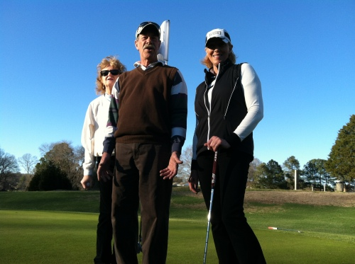 Stalwarts in my golf group: Pam, Ray and Ruth. This pretty much is my social life.