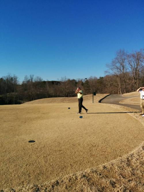 My friend Shawn snapped this pic while we played at Rock Barn up near Hickory on Saturday. The course played brutally long in the wet conditions. But yes, playing beneath the blue Carolina sky makes it worthwhile.