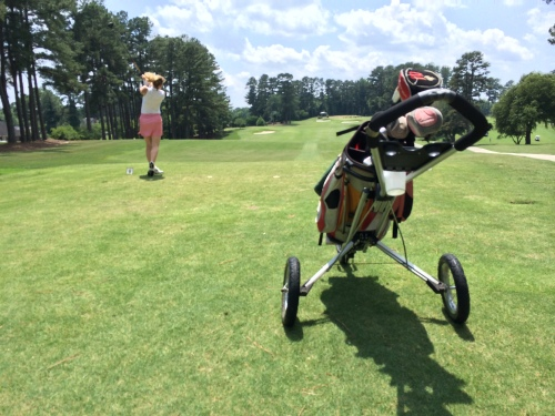 My pushcart and I got along just fine walking 18 hot, muggy holes on hilly courses both days this weekend. And I wonder why my legs are dead.