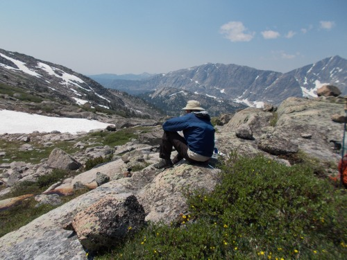 By Tom's estimate, we logged just short of 60 miles in Wyoming. This photo was from day 4, and the 30 minute break was much needed after a nerve-wracking ascent over snow and boulders up the back side of Hailey Pass at the very north side of the Bridger Wilderness.