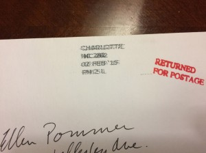 Ellen's letter came back with the red mark of postal shame.