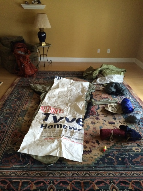 Gear for Wyoming is amassed in the empty living room. Let's hope it gets to be used. (The Tyvek is a good lightweight ground cloth for the tent.)