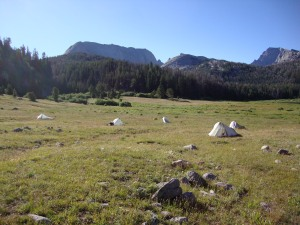 Our little tent city sprang up quickly but after a frigid overnight, the sun dried us out quickly.