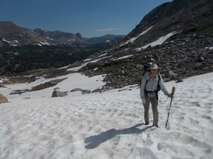 This is what greeted Tom and I on Hailey Pass in 2014: nearly wall to wall snow field.