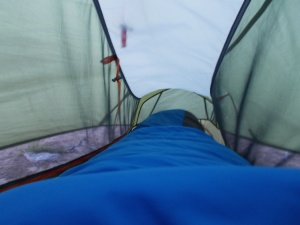 One thing about a one person tent- there's not a ton of wiggle room.