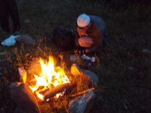 Dan is one helluva hiker - the 'through' hiker variety. He was on the Continental Divide Trail and after months of walking, his goal was nearly in sight. He borrowed our fire to cook trout he caught with chunks of cheese. I said brookies weren't too smart.